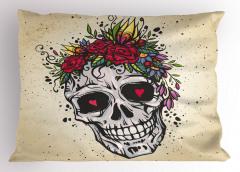 Kalp Gözlü Kuru Kafa Yastık Kılıfı Çiçek Dekoratif