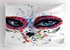 Mavi Güzel Gözler Yastık Kılıfı Mor Dekoratif