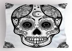 Siyah Beyaz Kuru Kafa Yastık Kılıfı Çiçek Dekoratif