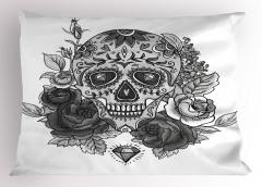 Gri Güllü Kuru Kafa Yastık Kılıfı Çiçek Dekoratif