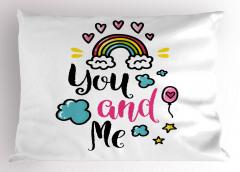Bulutlarda Aşk Yastık Kılıfı Kalpli Romantik