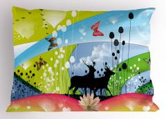 Geyik ve Kelebek Yastık Kılıfı Mavi Yeşil Doğa