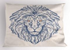 Mavi Aslan Kafası Yastık Kılıfı Portre Şık Tasarım