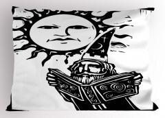 Güneş ve Adam Yastık Kılıfı Siyah Beyaz Dekoratif