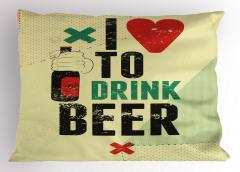 Bira İçmeyi Seviyorum Yastık Kılıfı Yeme İçme Retro