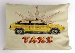 Sarı Taksi Desenli Yastık Kılıfı Retro Dekoratif