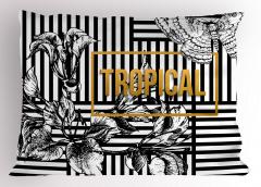 Tropikal Çiçekler Yastık Kılıfı Siyah Kelebek Çizgili
