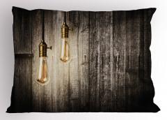 Ahşap Duvardaki Işıklar Yastık Kılıfı Kahverengi Şık