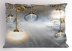 Gri Ampul Desenli Yastık Kılıfı Altın Işık Dekoratif