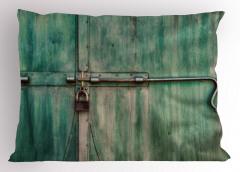 Kilitli Kapı Yastık Kılıfı Yeşil Dekoratif