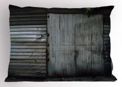 Gri Kapı Desenli Yastık Kılıfı Eski Bina