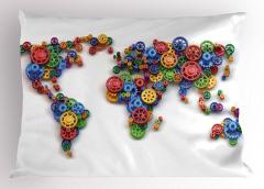 Rengarenk Çarklar Yastık Kılıfı Dünya Haritası