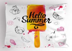 Merhaba Yaz Yastık Kılıfı Meyve Dondurma Sarı