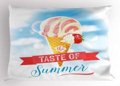 Çilekli Dondurma Yastık Kılıfı Yaz Dekoratif Pembe