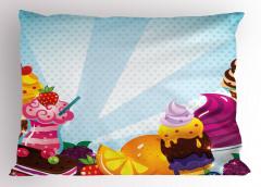 Rengarenk Dondurmalar Yastık Kılıfı Mavi Benekli
