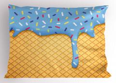 Mavi Dondurma Desenli Yastık Kılıfı Meyveli Dekoratif