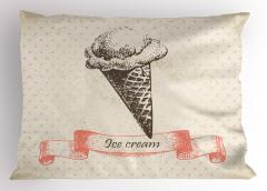 Nostaljik Dondurma Yastık Kılıfı Külah Dekoratif