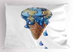 Mavi Dünya Dondurması Yastık Kılıfı Şık Tasarım