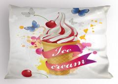 Kelebek ve Dondurma Yastık Kılıfı Mavi Şık Tasarım