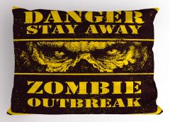 Zombi Saldırısı Yastık Kılıfı Sarı Fantastik Korkunç