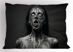 Siyah Beyaz Zombi Yastık Kılıfı Fantastik Korkunç