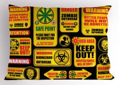 Zombi Uyarısı Tabelası Yastık Kılıfı Sarı Fantastik