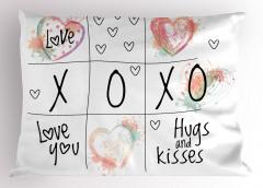 Romantik Xox Oyunu Yastık Kılıfı Kalp Siyah Beyaz