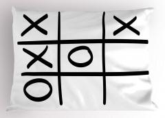 Xox Oyunu Desenli Yastık Kılıfı Siyah Beyaz Çizgili