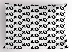 Kalın Çizgili Xo Oyunu Yastık Kılıfı Siyah Beyaz Şık