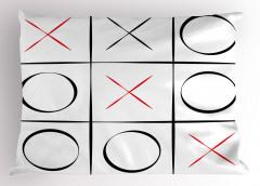 Çizgili Xox Oyunu Yastık Kılıfı Siyah Beyaz Kırmızı