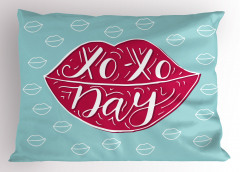 Mor Dudaklı Xox Yastık Kılıfı Mavi Şık Tasarım