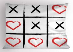 Xox Bulmacası Yastık Kılıfı Siyah Kırmızı Kalpli