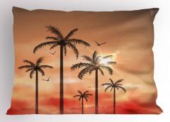 Tropik Ağaçlar Desenli Yastık Kılıfı Pembe Kuş Şık