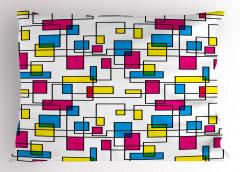 Mor Sarı Dikdörtgenler Yastık Kılıfı Mavi Geometrik