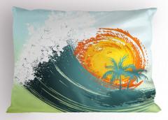 Dalgalar ve Güneş Yastık Kılıfı Palmiye Tropik