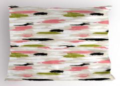 Boya Darbeleri Desenli Yastık Kılıfı Pembe Siyah Yeşil