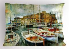 Liman Kasabası Yastık Kılıfı Deniz Tekne Nostaljik