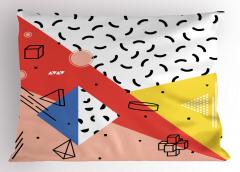 Geometrik Şekiller Yastık Kılıfı Pembe Beyaz Sarı