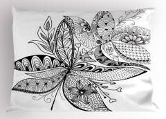 Siyah Beyaz Çiçekli Yastık Kılıfı Şık Tasarım