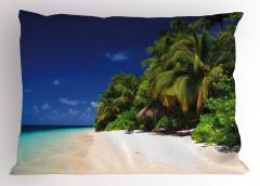 Tropik Sahil Yastık Kılıfı Ağaç Deniz Mavi Yeşil