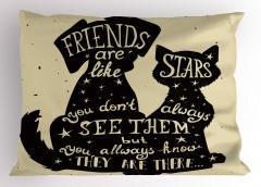 Arkadaş Yıldız Gibidir Yastık Kılıfı Kedi Köpek