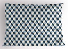Mavi ve Beyaz Küpler Yastık Kılıfı Geometrik Dekoratif