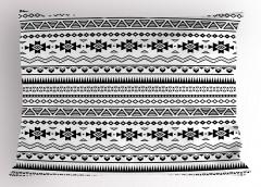 Geometrik Etnik Desenli Yastık Kılıfı Siyah Beyaz Şık