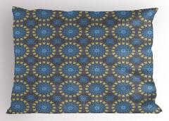 Mavi Kalpli Çiçekler Yastık Kılıfı Şık Tasarım