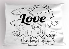 Siyah Beyaz Aşk Yastık Kılıfı İlham Verici Kalp