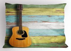 Klasik Gitarlı Yastık Kılıfı Ahşap Müzik Kahverengi