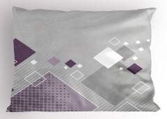 Mor ve Beyaz Karolar Yastık Kılıfı Geometrik Çizgili
