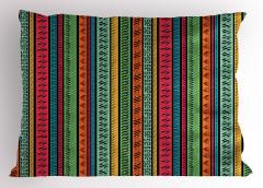 Çizgili Etnik Desenli Yastık Kılıfı Rengarenk Şık