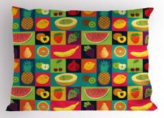 Leziz Meyveler Yastık Kılıfı Çilek Karpuz Üzüm