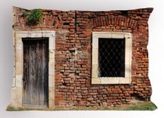 Tuğla Evin Kapısı Yastık Kılıfı Pencere Mimari